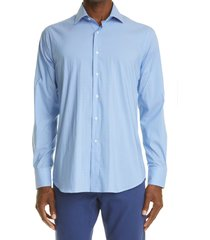 canali neat diamond stretch dress shirt, size 18.5 in light blue at nordstrom
