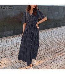 zanzea verano de las mujeres de manga corta compruebe la playa vestido de las señoras del zapato con cordones partido de los vestidos maxi -azul marino