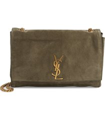 saint laurent kate reversible leather shoulder bag - green