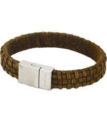 bracelete masculino em couro envelhecido e fecho em aço italiano
