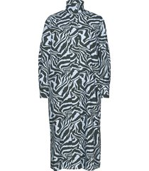 printed cotton poplin jurk knielengte blauw ganni