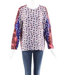 stella mccartney multicolor floral paisley silk blouse blue/multicolor/floral print sz: xs