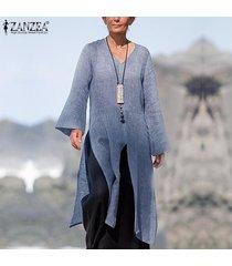 zanzea mujer de manga larga camisa de las tapas ocasionales flojos de split hem cascada de la blusa plus jumper -azul claro