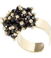 anel banho de ouro microesferas quartzo negro