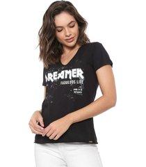 camiseta dimy dreamer preta - preto - feminino - algodã£o - dafiti