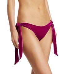 jonathan simkhai women's side-tie velvet bikini bottoms - magenta - size s