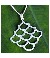 sterling silver pendant necklace, 'fish scales' (thailand)