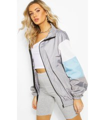 oversized colour block arm shell zip through jacket, grey