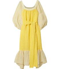 laure belted linen-blend gauze midi dress