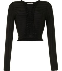 dion lee braided panel top - black