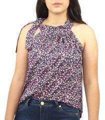 blusa feminina regata floral florida amarração viscolycra - feminino