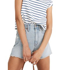 madewell the ripped momjean recycled denim shorts, size 33 in byers at nordstrom