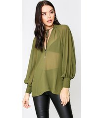 sheer plunge front tie neck blouse, khaki