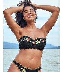 seville underwire embroidered black bandeau strapless bikini top c-g