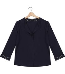 blusa azul oscuro-blanco-café vero moda