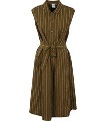 aspesi tie-waist stripe detail sleeveless dress