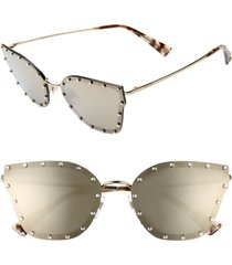 valentino 59mm cat eye sunglasses in light gold/gold at nordstrom