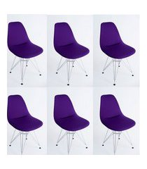 kit com 06 capas para cadeira base madeira eiffel wood roxo