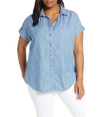 plus size women's caslon chambray camp shirt