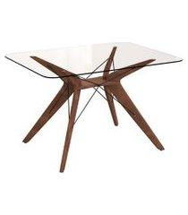 mesa de jantar retangular com tampo de vidro vegas incolor e café 120 cm