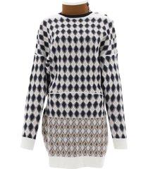 diamond turtleneck sweater dress