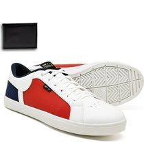 sapatenis casual branco com vermelho six street com carteira