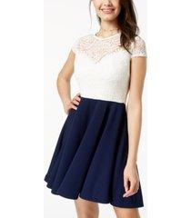 b darlin juniors' bow-back colorblocked dress