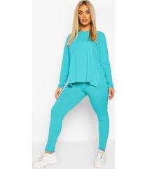 plus jumbo rib high waist legging, turquoise