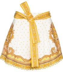 zimmermann bells paisley print shorts - yellow