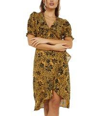 quiz floral-print wrap dress