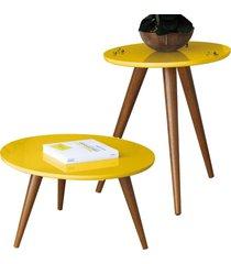 kit mesa lateral com mesa de centro decorativa lyam decor sofia amarelo