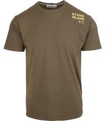 military-green/yellow cotton logo-print cotton t-shirt
