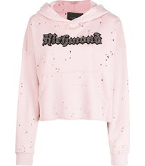 john richmond sequin logo embroidered hoodie - pink