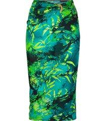 versace jungle-print gathered-waist fitted skirt - green