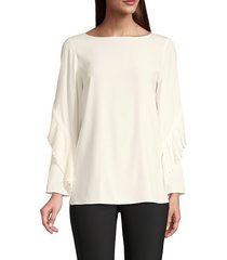 lafayette 148 new york alessia silk blouse - black - size xs