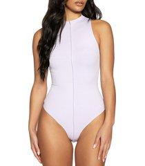 naked wardrobe funnel neck rib bodysuit, size x-small in lavender at nordstrom