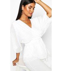 petite geweven gestreepte wikkel blouse met vleermuismouwen, wit