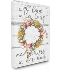 "stupell industries love in her heart flowers in her hair flower crown canvas wall art, 24"" x 30"""