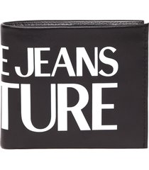versace jeans couture black leather embossed logo wallet