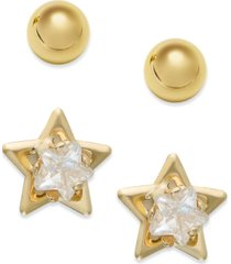 10k gold earrings set, cubic zirconia accent star and ball stud earrings