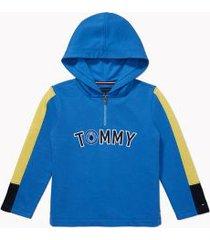 tommy hilfiger boy's adaptive tommy stripe hoodie palace blue - xl