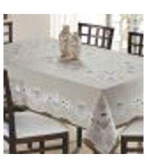 toalha de mesa retangular 6 lugares ouro monte carlo branco rústica