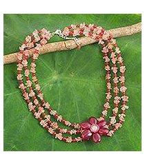 multi-gemstone beaded strand necklace, 'magenta floral' (thailand)