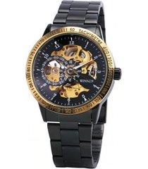 reloj hombre automático mecanico winner acero skeleton negro