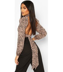 woven printed high neck open back blouse, rose