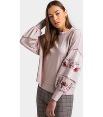 corelle embroidered ladder sleeve sweatshirt - blush