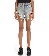 women's r13 shredded slouch denim shorts, size 24 - blue