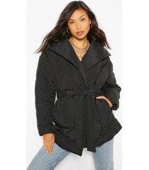 lange gewatteerde wikkel jas met ceintuur, black