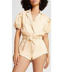 river island womens orange short sleeve belted blazer playsuit