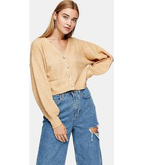 camel balloon sleeve cropped knitted cardigan - camel